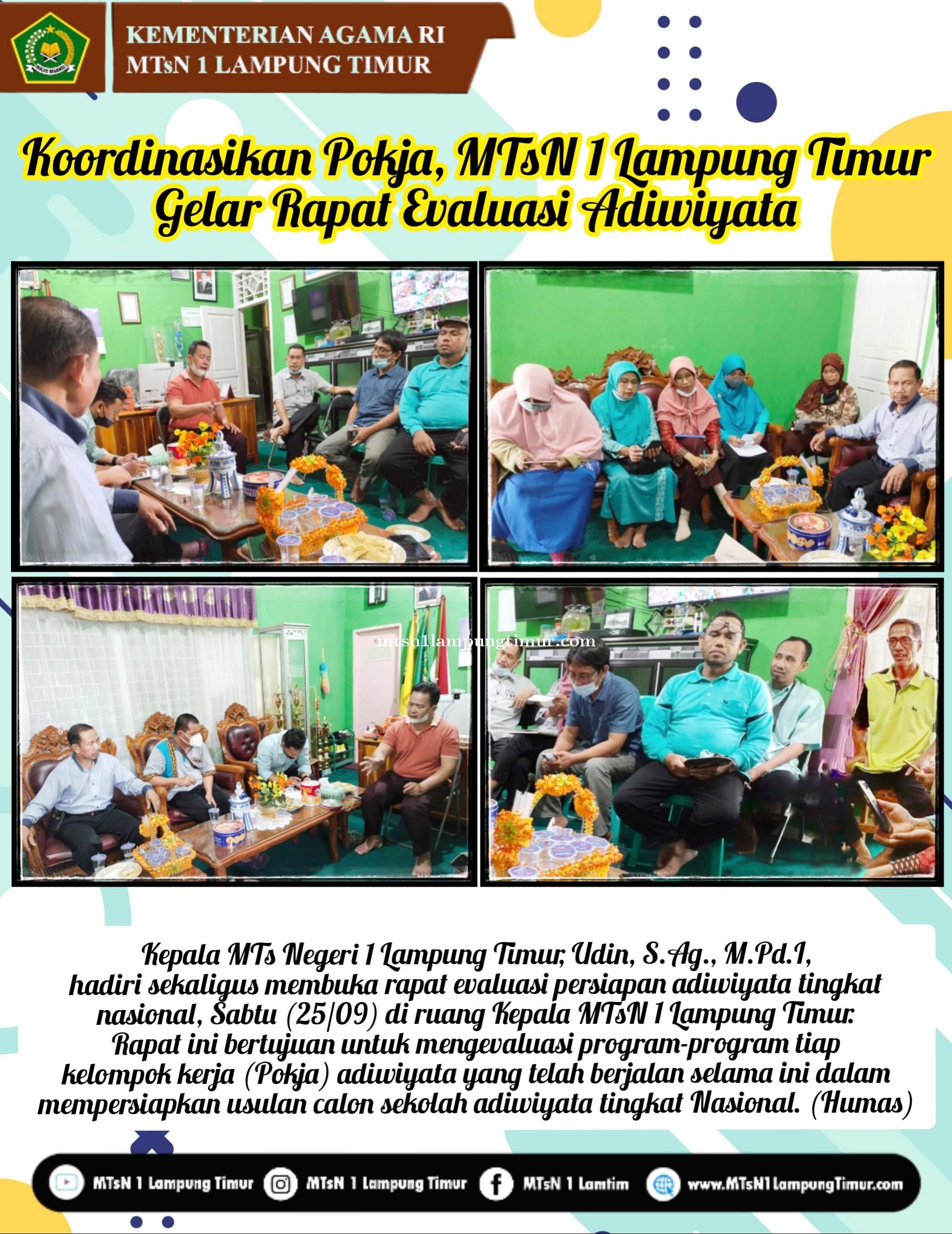 Koordinasikan Pokja, MTsN 1 Lampung Timur  Gelar Rapat Evaluasi Adiwiyata