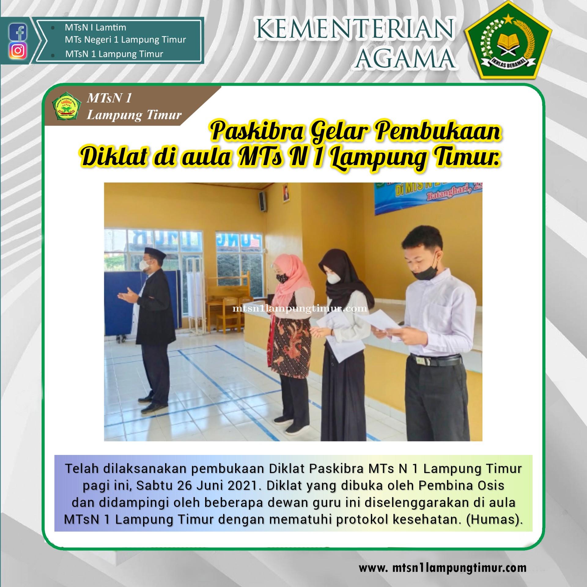 Diklat Paskibra sebagai Bekal Wawasan Kebangsaan Pasukan Pengibar Bendera MTsN 1 Lampung Timur.